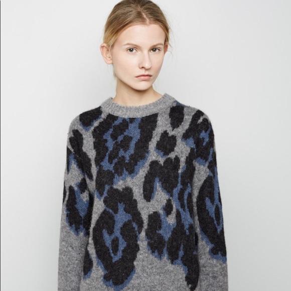 Sacai Sweaters - Sacai Luck Grey Leopard Knit Sweater